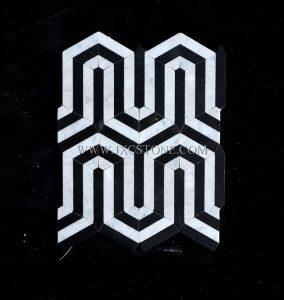 Carrara White Marble & Nero marquina Waterjet Mosaic (JX-WJ031)