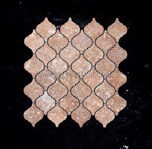 Coffee Travertine Polished Arabasque/Lantern Marble Mosaic Tiles
