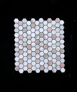 Rosa Norvegia Marble 1 inch Hexagon Thasso White Marble Mosaic Tile