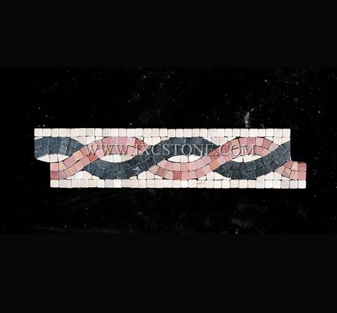 Crema marfil Marble and Nero marquina Marble Border Mosaic Tile