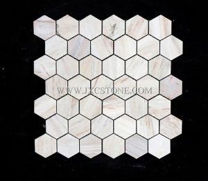 Hexagon Eurasian Wood Grain Mosaic Tile