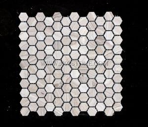 White Wooden Marble 1″ Hexagon Mosaic Tiles