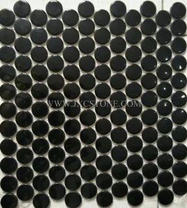 Pure black color penny round porcelain mosaic
