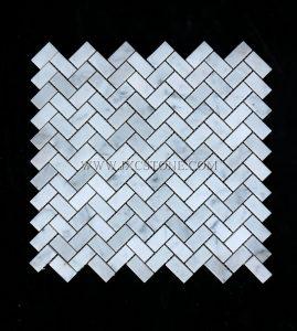 Carrara White Herringbone Marble Mosaic Tile