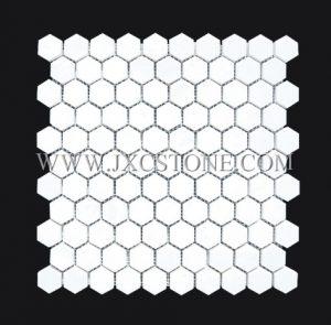 Thassos White 1″ Hexagon Polished Marble Mosaic