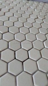Pure white color hexagonal porcelain mosaic