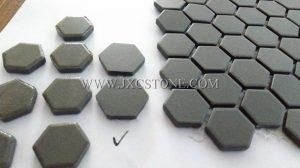 Pure grey color hexagonal porcelain mosaic