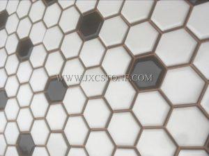 White color hexagonal porcelain mosaic