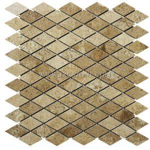 Polished Diamond Travertine Mosaic Tiles