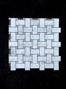 Bianco Carrara White Marble 1″x2″ Basketwave Mosaic