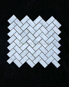 Carrara White Polished Marble Herringbone Design Marble Mosaic Tiles