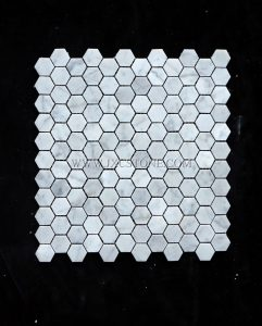 Bianco Carrara Marble 1″ Hexagon Mosaic