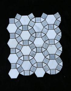 Eastern White Polished Football Design Marble Circular Mosaic Tiles