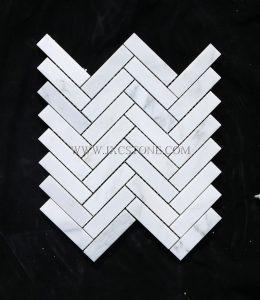 Eastern White 1 x 4″ Herringbone Marble Mosaic Tile