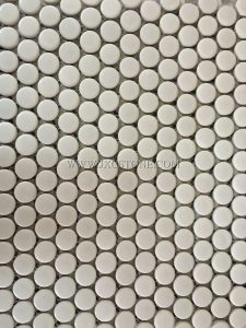 Pure white color penny round porcelain mosaic