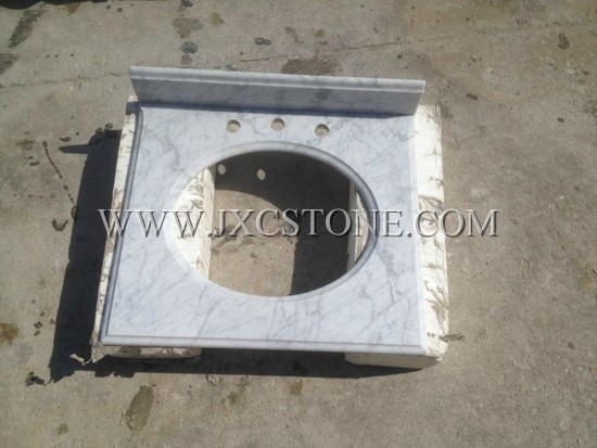 Carrara white marble vanity tops (single sink)