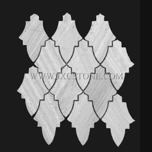 New Design Wooden White Marble Mosaic Tile