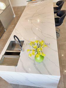 Calacatta White Quartz Kitchen Countertops