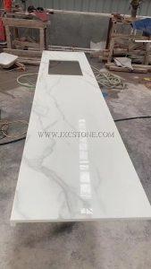 Calacatta White Nano Glass Kitchen Countertops