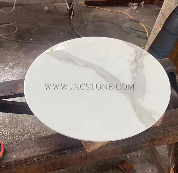 Calacatta White Nano Glass Table Tops